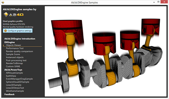 Car engine rendered with solid model and wireframe in Ab3d.DXEngine