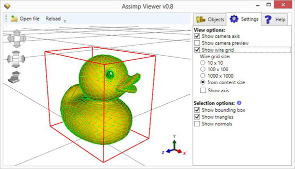 Ab3d.PowerToys.AssimpViewer showing Duck model loaded from dae file