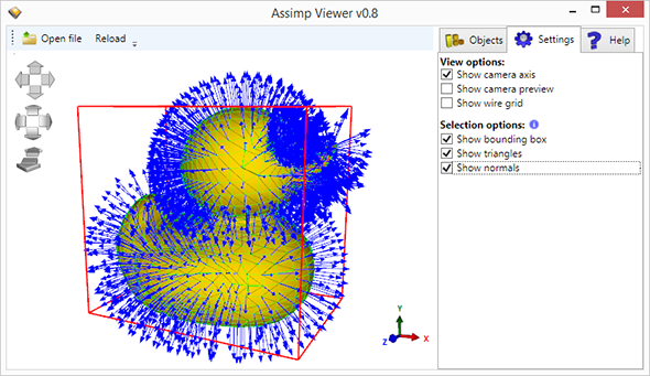 AssimpViewer with shown bounding box, normals and triangles
