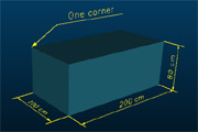 3D box model with 3D text showing the size measurements of the box