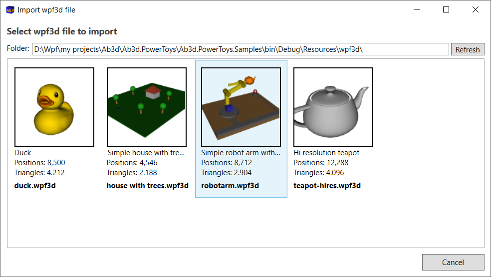 Simple dialog to import wpf3d files shows some file metadata and preview bitmap