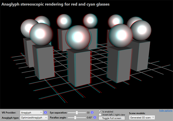 Anaglyph virtual reality with Ab3d.DXEngine rendering