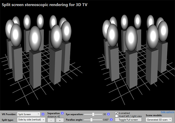 Split-screen virtual reality with Ab3d.DXEngine rendering
