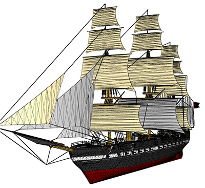 Wireframe ship model rendered with Ab3d.DXEngine