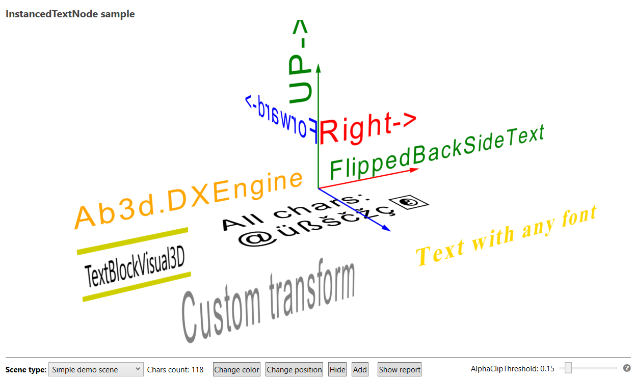 Showing different text with new InstancedTextNode object in new Ab3d.DXEngine