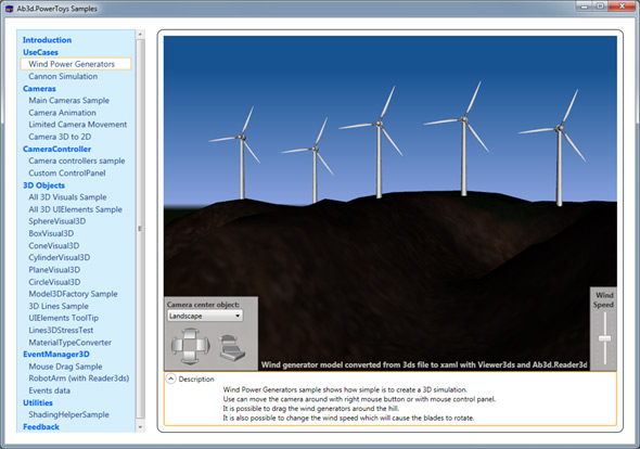 Ab3d.PowerToys Samples - Wind Generator sample