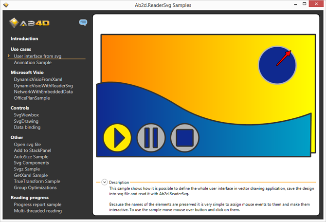 Simple user interface designed in vector drawing application and shown in WPF application with Ab2d.ReaderSvg