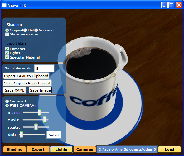 Viewer3D with coffee model