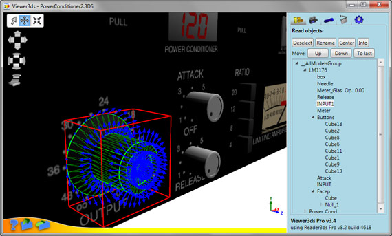 Viewer3ds: Showing details of selected object - bounding box in red, triangles in green and normals in blue.