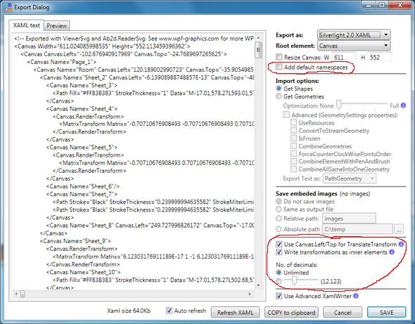 ViewerSvg export dialog